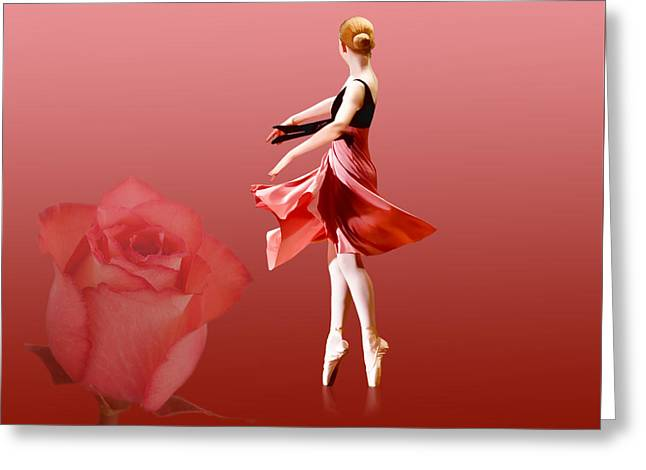 Dance Ballet Roses Greeting Cards - Ballerina On Pointe with Red Rose  Greeting Card by Delores Knowles