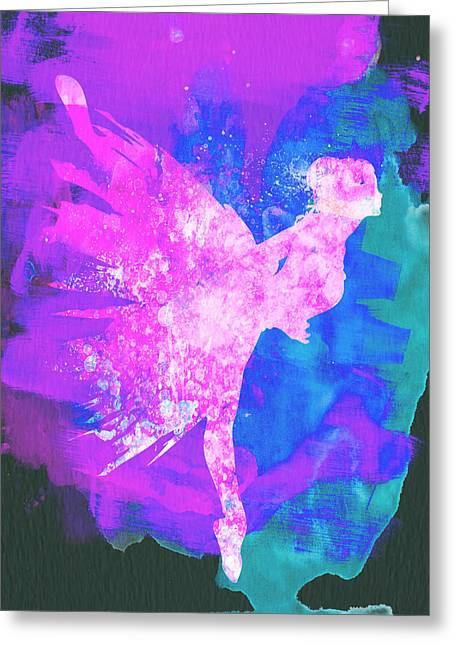 Ballerina Mixed Media Greeting Cards - Ballerina on Stage Watercolor 1 Greeting Card by Naxart Studio