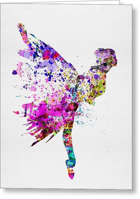 Ballerina Mixed Media Greeting Cards - Ballerina on Stage Watercolor 3 Greeting Card by Naxart Studio