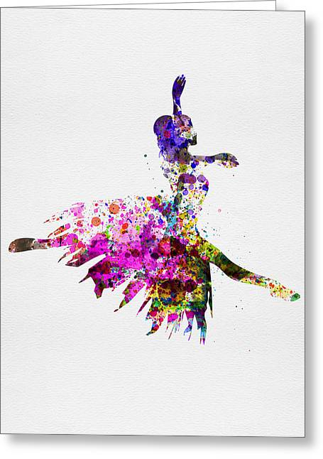 Dancing Girl Greeting Cards - Ballerina on Stage Watercolor 4 Greeting Card by Naxart Studio