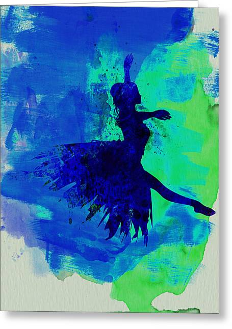 Ballerina Mixed Media Greeting Cards - Ballerina on Stage Watercolor 5 Greeting Card by Naxart Studio