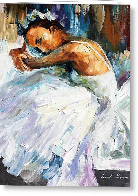 Sizes Greeting Cards - Ballerina - PALETTE KNIFE Oil Painting On Canvas By Leonid Afremov Greeting Card by Leonid Afremov