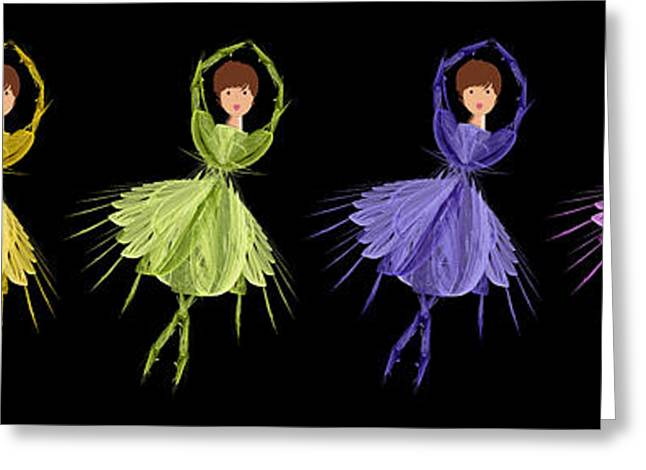 Tutu Mixed Media Greeting Cards - Ballerina Rainbow 1 Greeting Card by Andee Design