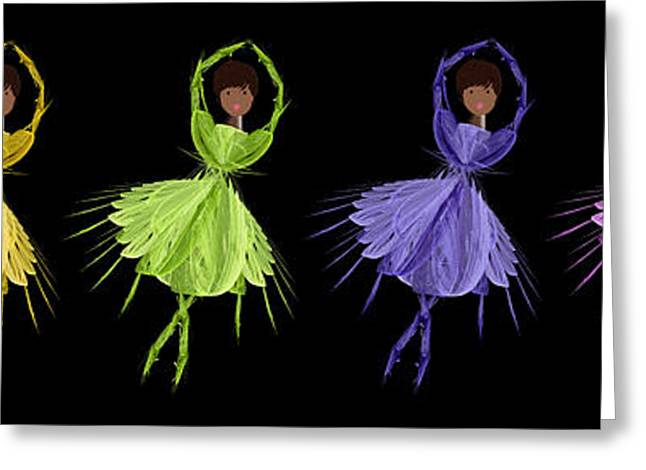 Ballet Dancers Greeting Cards - Ballerina Rainbow 2 Greeting Card by Andee Design