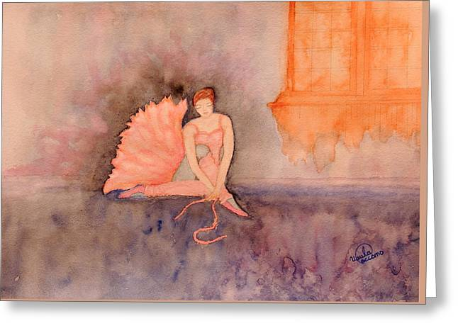 Tying Shoe Greeting Cards - Ballerina Greeting Card by Ursula Coccomo