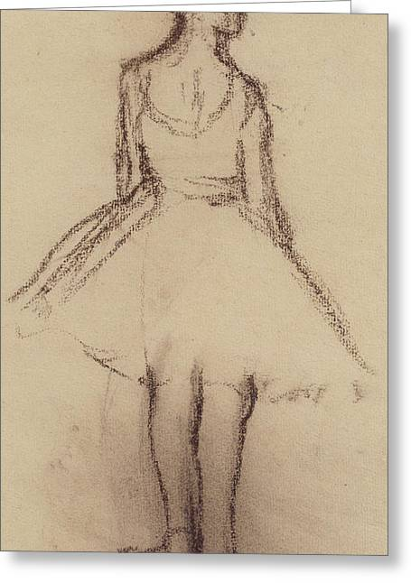Ballet Dancers Drawings Greeting Cards - Ballerina viewed from the back  Greeting Card by Edgar Degas