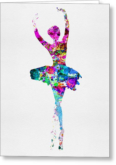 Dancing Girl Greeting Cards - Ballerina Watercolor 1 Greeting Card by Naxart Studio
