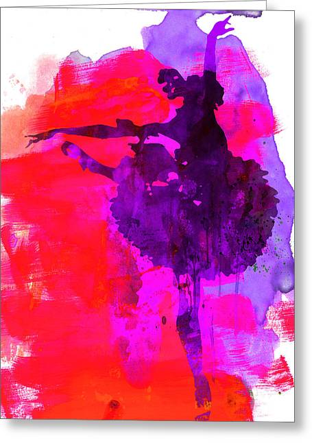 Ballerina Mixed Media Greeting Cards - Ballerina Watercolor 3 Greeting Card by Naxart Studio