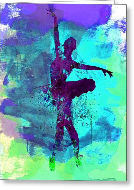 Photography Mixed Media Greeting Cards - Ballerina Watercolor 4 Greeting Card by Naxart Studio