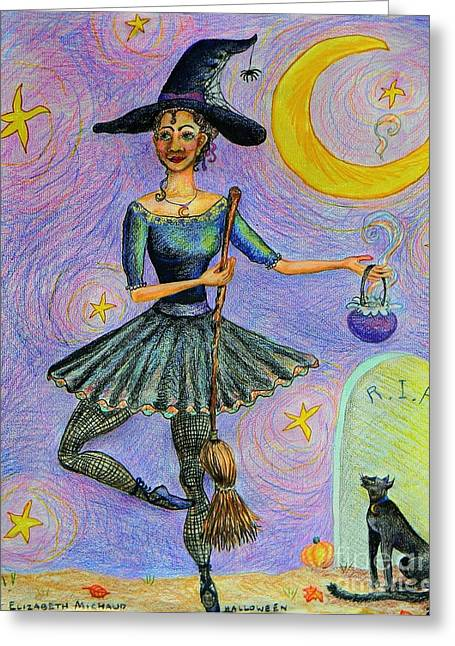 Tombstone Drawings Greeting Cards - Ballerina Witch Greeting Card by Emily Michaud