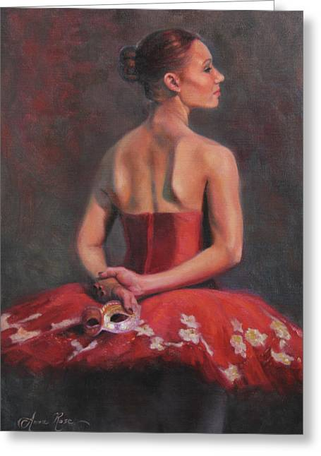 Masked Greeting Cards - Ballerina with Mask Greeting Card by Anna Bain