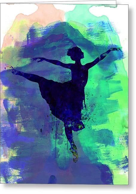 Ballerina Mixed Media Greeting Cards - Ballerinas Dance Watercolor 2 Greeting Card by Naxart Studio