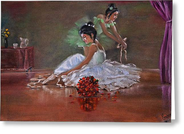 Glass Table Reflection Paintings Greeting Cards - Ballerinas Greeting Card by Praisey Peter