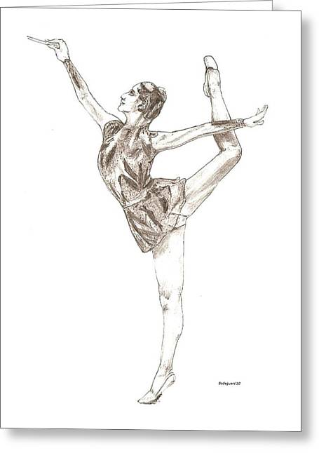 Best Sellers -  - Ballet Dancers Drawings Greeting Cards - Ballet a pencil study in Black and White Greeting Card by Mario  Perez
