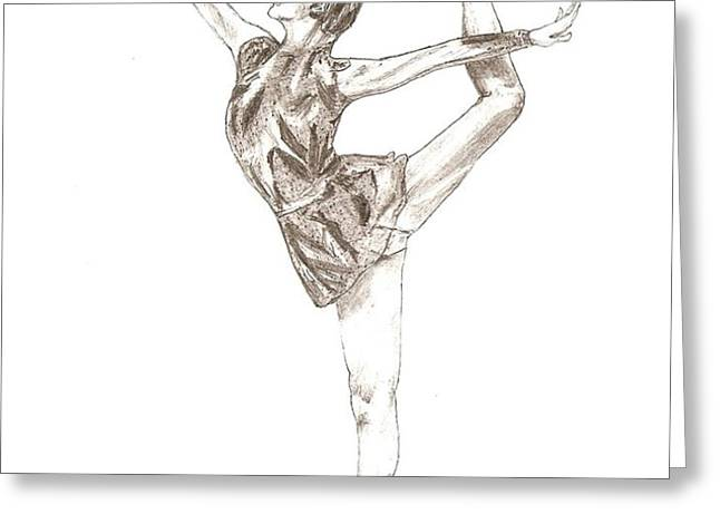 Ballet a pencil study in Black and White Greeting Card by Mario  Perez