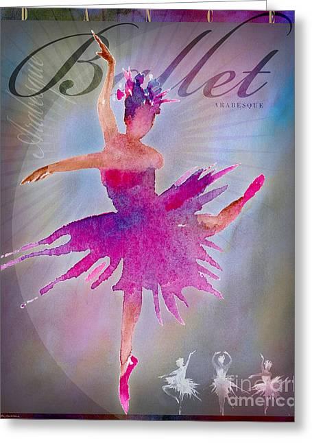 Ballet Digital Art Greeting Cards - Ballet Arabesque Poster Greeting Card by Amy Kirkpatrick