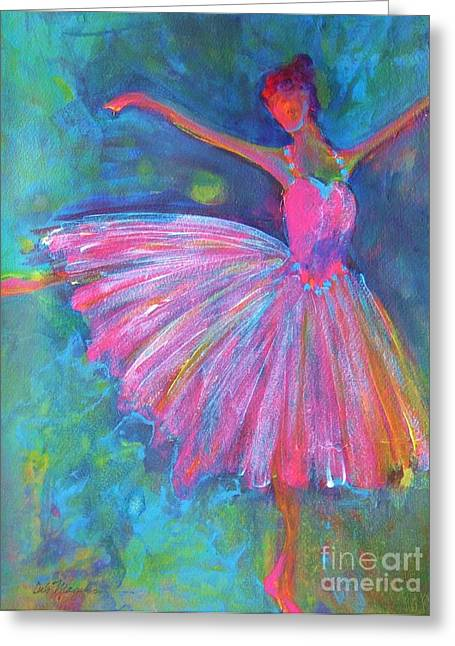 Acrylic Art Paintings Greeting Cards - Ballet Bliss Greeting Card by Deb Magelssen