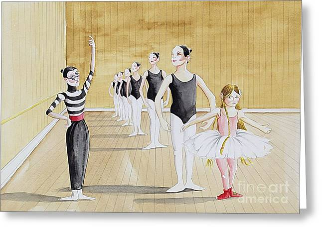 I Write Greeting Cards - Ballet Class Greeting Card by Adam Peot