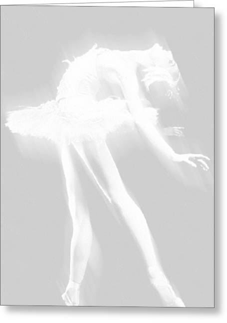 Interior Decorating Drawings Greeting Cards - Ballet Dancer Arched White on White Greeting Card by Tony Rubino