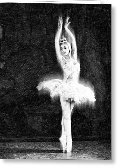 Interior Decorating Drawings Greeting Cards - Ballet Dancer Extended Black and White Greeting Card by Tony Rubino