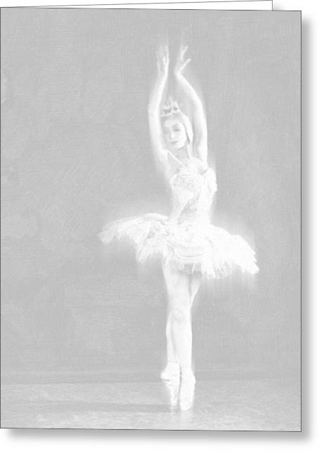 Interior Decorating Drawings Greeting Cards - Ballet Dancer Extended White on White Greeting Card by Tony Rubino
