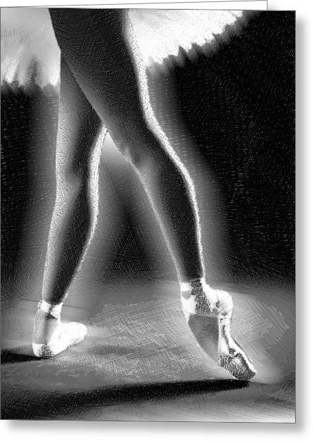 Interior Decorating Drawings Greeting Cards - Ballet Dancer Legs Black and White Greeting Card by Tony Rubino