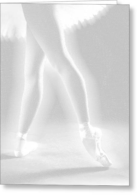 Interior Decorating Drawings Greeting Cards - Ballet Dancer Legs White on White Greeting Card by Tony Rubino