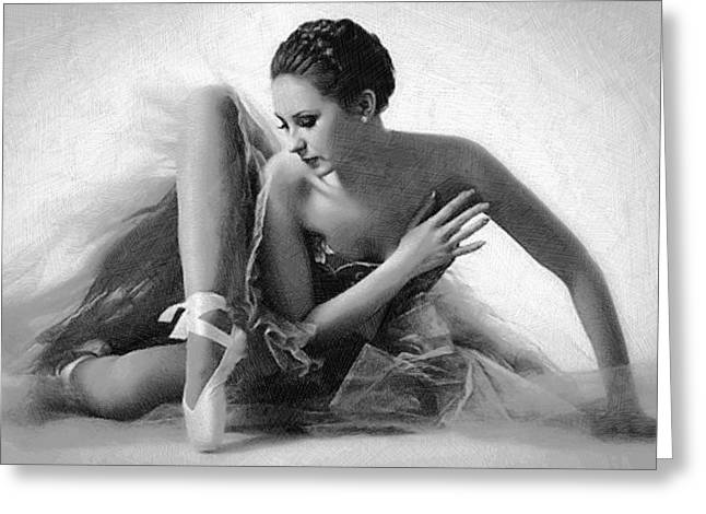 Interior Decorating Drawings Greeting Cards - Ballet Dancer Sitting Black and White Greeting Card by Tony Rubino