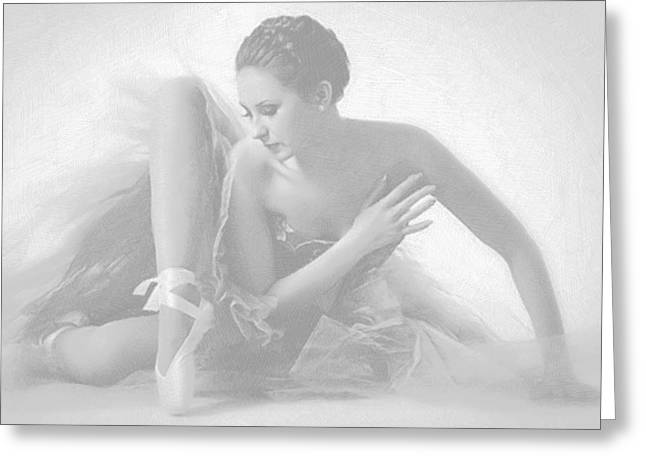 Print On Acrylic Drawings Greeting Cards - Ballet Dancer Sitting White on White Greeting Card by Tony Rubino