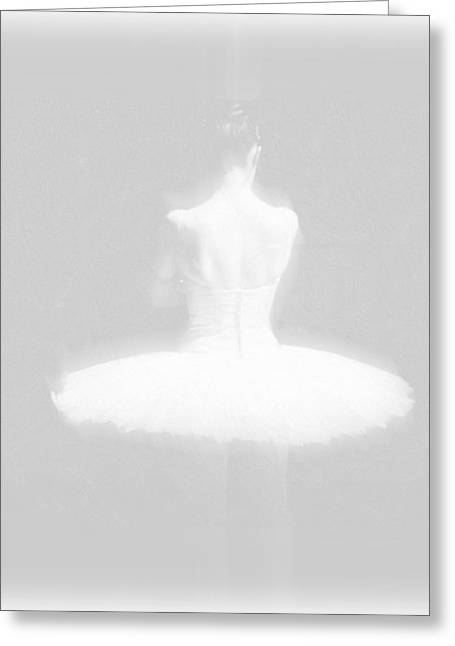 Ballet Dancer Standing White On White Greeting Card by Tony Rubino