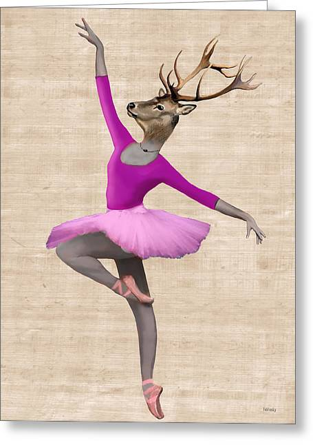 Tutu Digital Art Greeting Cards - Ballet Deer Pink Greeting Card by Kelly McLaughlan