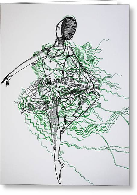 African-american Drawings Greeting Cards - Ballet Greeting Card by Gloria Ssali