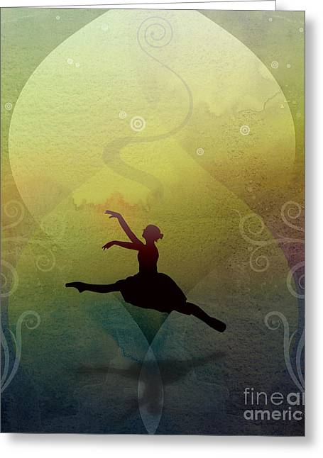 Solitude Mixed Media Greeting Cards - Ballet In Solitude - Color Verde Greeting Card by Bedros Awak