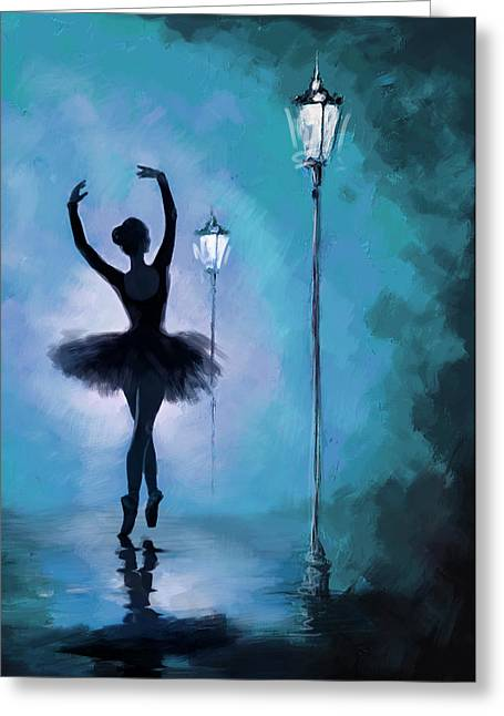 Ballet Dancers Paintings Greeting Cards - Ballet in the Night  Greeting Card by Corporate Art Task Force