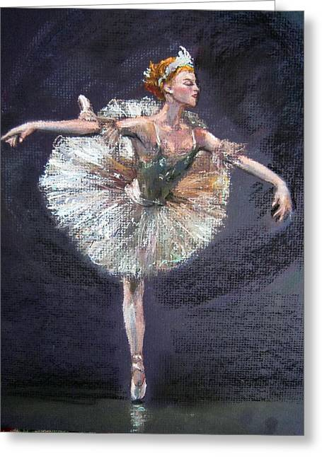 Ballet Dancers Pastels Greeting Cards - Ballet Greeting Card by Jieming Wang