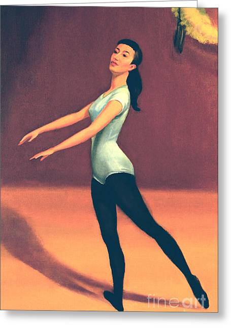 1950s Portraits Paintings Greeting Cards - Ballet Practice Greeting Card by Art By Tolpo Collection