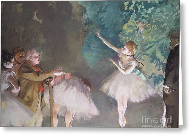 Tutu Pastels Greeting Cards - Ballet rehearsal Greeting Card by Edgar Degas