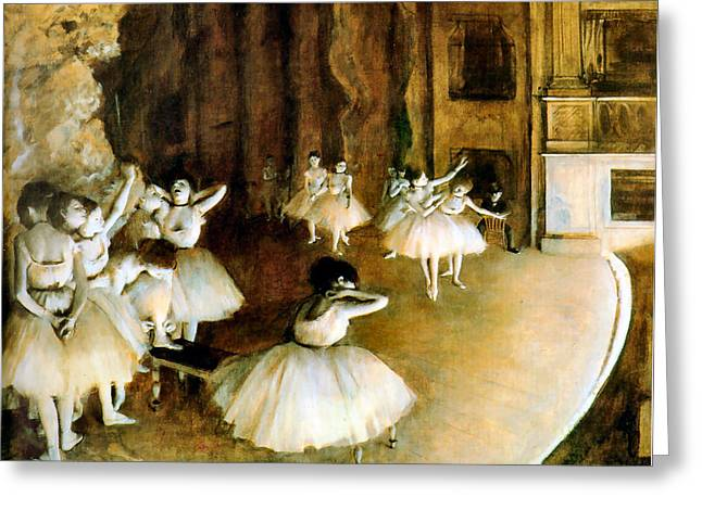 Dance Recital Greeting Cards - Ballet Rehearsal on Stage Greeting Card by Edgar Degas