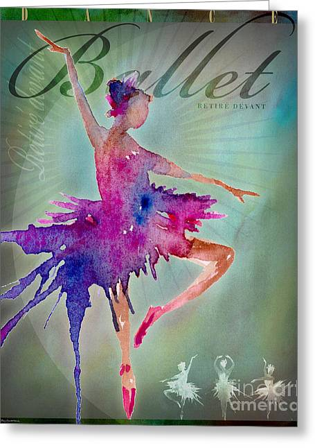 Ballet Pink Greeting Cards - Ballet Retire Devant Poster Greeting Card by Amy Kirkpatrick