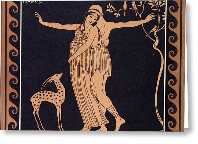 Forest Bird Greeting Cards - Ballet scene with Tamara Karsavina Greeting Card by Georges Barbier