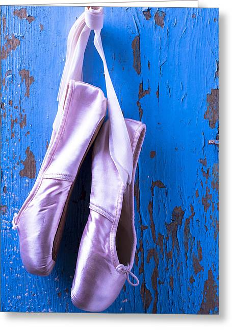 En Pointe Greeting Cards - Ballet shoes on blue wall Greeting Card by Garry Gay