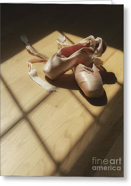Pink Shoes Greeting Cards - Ballet Slippers Greeting Card by Diane Diederich