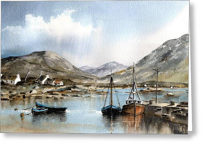 Val Byrne Greeting Cards - Ballinakill Harbour Galway Greeting Card by Val Byrne