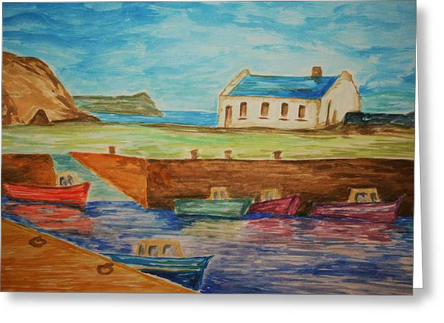 Boats On Water Drawings Greeting Cards - Ballintoy Series 1 Greeting Card by Paul Morgan