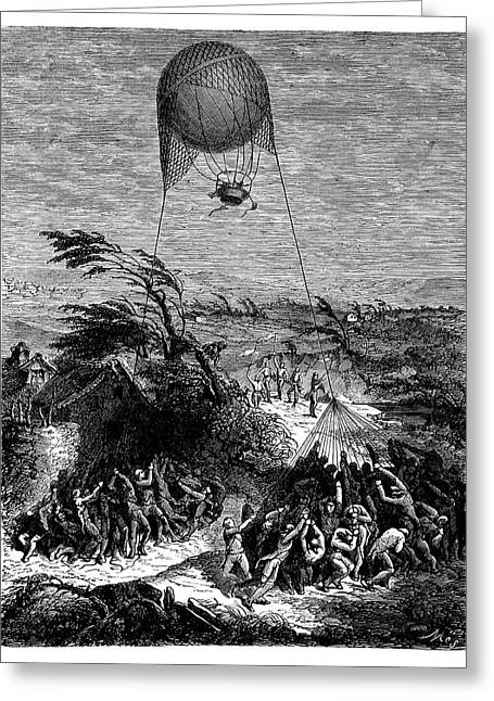 Balloon At Siege Of Mainz Greeting Card by Science Photo Library