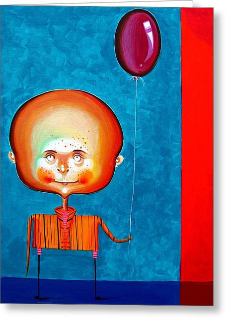 Little Boy Greeting Cards - Balloon boy - Acrylics on canvas Greeting Card by Tiberiu Soos