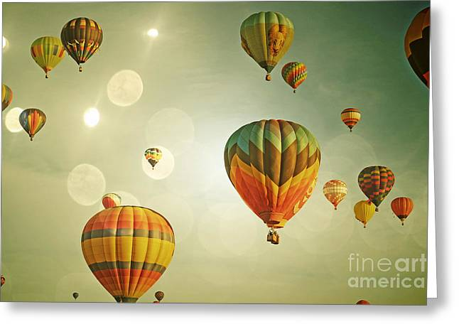 Balloon Colorful Sky Greeting Card by Andrea Hazel Ihlefeld