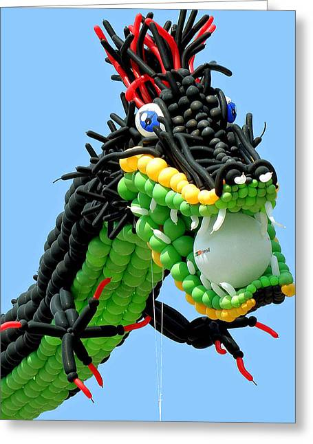 Floating Girl Greeting Cards - Balloon Dragon Greeting Card by Jean Hall