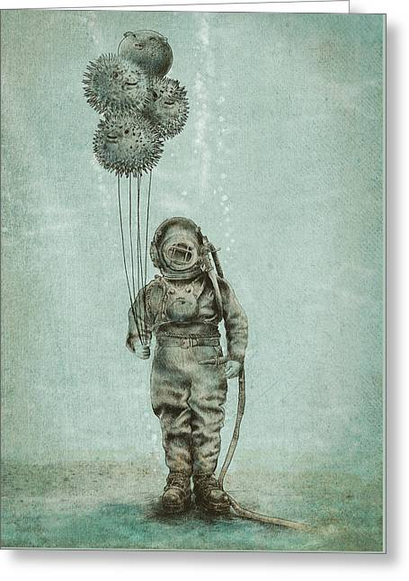 Diving Drawings Greeting Cards - Balloon Fish Greeting Card by Eric Fan