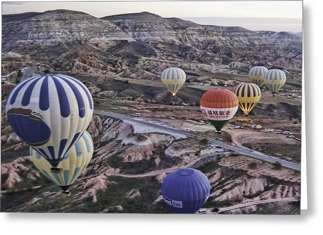 Mountain Valley Greeting Cards - Balloon Flight Greeting Card by Phyllis Taylor